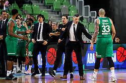 Dragisa Drobnjak, assistant coach and Maik Zirbes of Cedevita Olimpija during basketball match between KK Cedevita Olimpija and KK Zadar in Round #19 of ABA League 2019/20, on February 8, 2020 in Arena Stozice, Ljubljana, Slovenia. Photo by Vid Ponikvar / Sportida