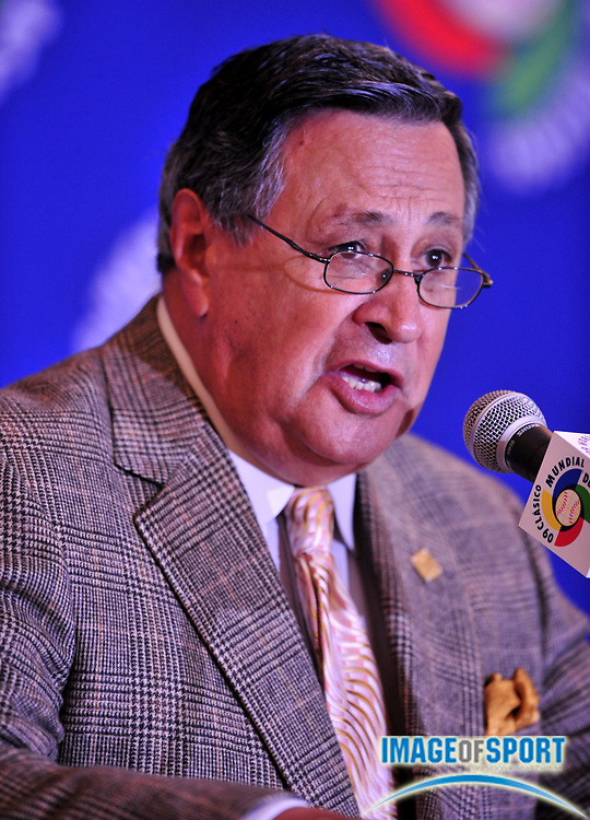 Jul 31, 2008; Los Angeles, CA, USA; Los Angeles Dodges Spanish language broadcaster Jaime Jarrin at press conference to announce selection of Dodger Stadium as the site of the 2009 World Baseball Classic championship.