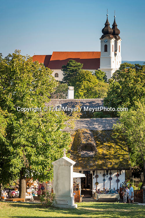 Tihany, Balaton, Hungary, August 2015. Tihanyi -félsziget (Tihany peninsula) divides the lake into two basins. The ancient Tihany village was founded in the Middle Ages when King Andrew I founded here in 1055 a burial-place for the royal family and built a monastery, where Benedictine monks were settled.Lake Balaton is a freshwater lake in the Transdanubian region of Hungary. It is the largest lake in Central Europe and one of the region's foremost tourist destinations. The mountainous region of the northern shore is known both for its historic character and as a major wine region, while the flat southern shore is known for its resort towns. Photo by Frits Meyst / MeystPhoto.com