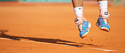 MONTE-CARLO, MONACO - Sunday, April 18, 2010: The Nike tennis shoes of Rafael Nadal (ESP) during the Men's Singles Final on day seven of the ATP Masters Series Monte-Carlo at the Monte-Carlo Country Club. (Photo by David Rawcliffe/Propaganda)