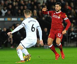 Emre Can of Liverpool competes with Alfie Mawson of Swansea City- Mandatory by-line: Nizaam Jones/JMP - 22/01/2018 - FOOTBALL - Liberty Stadium- Swansea, Wales - Swansea City v Liverpool - Premier League