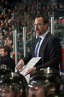 KELOWNA, CANADA - NOVEMBER 29:  Kris Mallette, assistant coach of the Kelowna Rockets goes over a play during the time time out against the Regina Pats on November 29, 2014 at Prospera Place in Kelowna, British Columbia, Canada.  (Photo by Marissa Baecker/Shoot the Breeze)  *** Local Caption *** Kris Mallette;