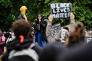 Young lady protester gets emotional while addressing the crowd during the Black Lives Matter protest in Cardiff, Wales on 6 June 2020.