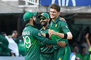 Wicket and win - Shaheen Afridi of Pakistan celebrates taking the wicket of Mustafizur Rahman of Bangladesh during the ICC Cricket World Cup 2019 match between Pakistan and Bangladesh at Lord's Cricket Ground, St John's Wood, United Kingdom on 5 July 2019.