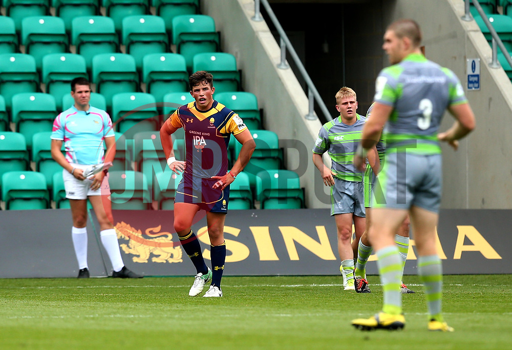 Will Butler of Worcester Warriors cuts a dejected figure after being beaten by Newcastle Falcons - Mandatory by-line: Robbie Stephenson/JMP - 29/07/2017 - RUGBY - Franklin's Gardens - Northampton, England - Worcester Warriors v Newcastle Falcons - Singha Premiership Rugby 7s