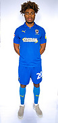 AFC Wimbledon midfielder Ossama Ashley (20)\ during the official team photocall for AFC Wimbledon at the Cherry Red Records Stadium, Kingston, England on 8 August 2019.