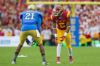 17 October 2012: Wide receiver (2) Robert Woods of the USC Trojans lines up against the UCLA Bruins during the first half of UCLA's 38-28 victory over USC at the Rose Bowl in Pasadena, CA.