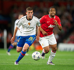 27.09.2011, Old Trafford, London, ENG, UEFA CL, Gruppe C, Manchester United (ENG) vs FC Basel (SUI), im Bild Manchester United's Anderson in action against FC Basel 1893's Fabian Frei // during the UEFA Champions League game, group C, Manchester United (ENG) vs FC Basel (SUI) at Old Trafford stadium in London, United Kingdom on 2011/09/27. EXPA Pictures © 2011, PhotoCredit: EXPA/ Propaganda Photo/ David Rawcliff +++++ ATTENTION - OUT OF ENGLAND/GBR+++++
