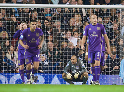 LONDON, ENGLAND - Tuesday, October 27, 2009: Everton's goalkeeper Tim Howard looks dejected as Tottenham Hotspur score the second goal despite saving a penalty-kick during the League Cup 4th Round match at White Hart Lane. (Photo by David Rawcliffe/Propaganda)