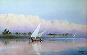 On the Nile', 1903 Watercolour.  Robert Talbot-Kelly (1861-1934) English orientalist landscape painter.   Dhow sailing on the river. In background are tall cliffs with fringe of palm trees at their foot. Egypt