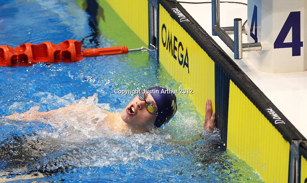 Michael Pitt turns at the wall during the 2012 New Zealand Short Course Swimming Championships, Day 2, Wellington Aquatics Centre, Kilbirnie, Wellington on Monday 1 October 2012. Photo: Justin Arthur / photosport.co.nz