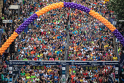 © Licensed to London News Pictures . 19/05/2019. Manchester, UK. The Great Manchester Run takes place in Manchester City Centre , starting at Portland Street . Photo credit : Joel Goodman/LNP