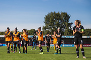 Magdalena Eriksson (Capt) (Chelsea) thanking the Chelsea FC Women supporters with other members of the team following the FA Women's Super League match between Brighton and Hove Albion Women and Chelsea at The People's Pension Stadium, Crawley, England on 15 September 2019.