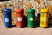 Waste separation and Recycling bins photographed Costa Brava, Catalonia, Spain
