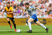 Tranmere Rovers forward Connor Jennings (11) and Newport County midfielder Josh Sheehan (16) during the EFL Sky Bet League 2 Play Off Final match between Newport County and Tranmere Rovers at Wembley Stadium, London, England on 25 May 2019.