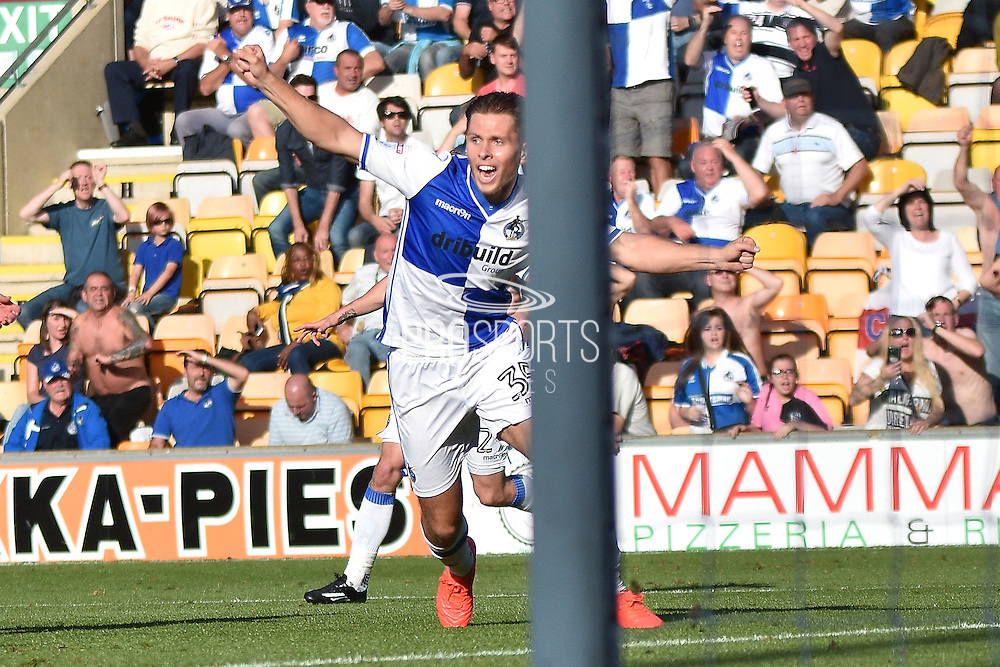Bristol Rovers  midfielder, on loan from Chelsea, Charlie Colkett (35)  scores 1-1 during the EFL Sky Bet League 1 match between Bradford City and Bristol Rovers at the Coral Windows Stadium, Bradford, England on 17 September 2016. Photo by Mark Pollitt.
