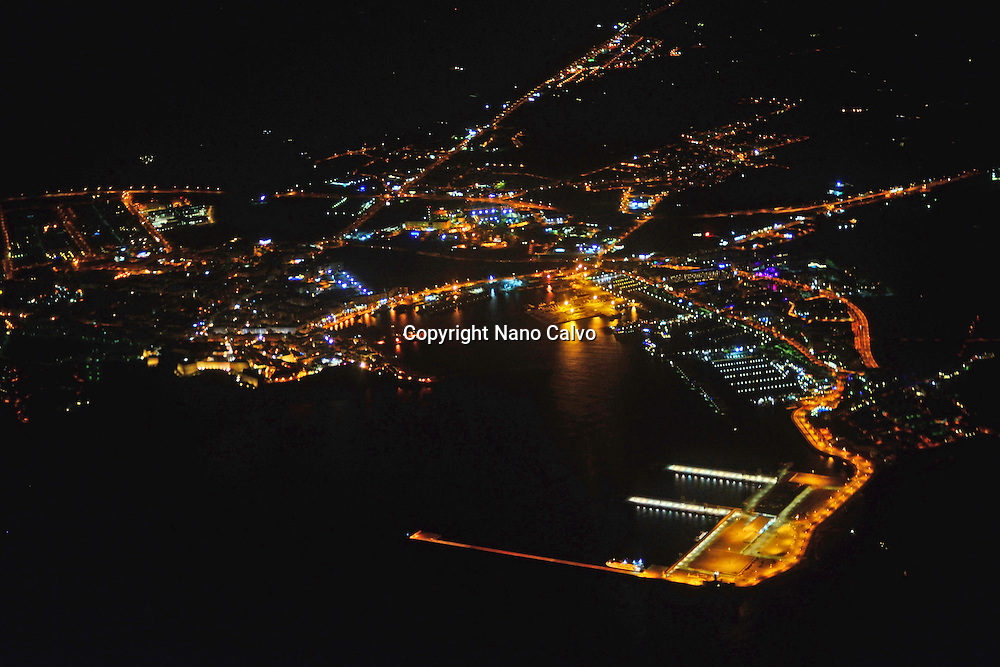 Aerial night view of Ibiza town, Balearic Islands, Spain