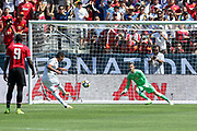 Real Madrid Midfielder Casemiro shoots and scores from the penalty spot 1-1 during the AON Tour 2017 match between Real Madrid and Manchester United at the Levi's Stadium, Santa Clara, USA on 23 July 2017.