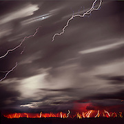 Lightning storm, moon, Comanche Grasslands, Southeast Colorado, time exposure,