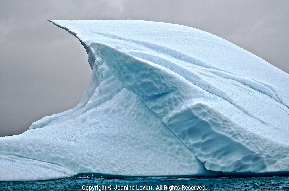 Iceberg chiseled into the shape like a wave.