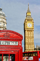 Big Ben, Red Phone Booth, London, England.