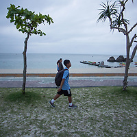 April 21, 2017, Okinawa, American  Kid return from  Araha park to Us base .On 20 April North Koreans soldiers played volleyball on Nuclear plant shown by sattelite image that suggests  signs of thaws on military escalate between North Korea and  Us army. Pierre Boutier