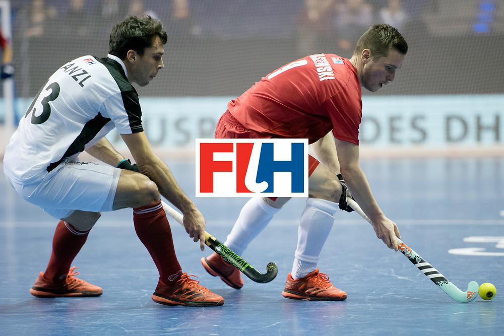 BERLIN - Indoor Hockey World Cup<br /> Quarterfinal 2: Austria - Poland<br /> foto: Benjamin Stanzl and Mateusz Poltaszewski <br /> WORLDSPORTPICS COPYRIGHT FRANK UIJLENBROEK