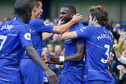 GOAL - Chelsea Defender Antonio Rudiger celebrates 1-0 with Chelsea Defender Cesar Azpilicueta and Chelsea Defender Marcos Alonso during the Premier League match between Chelsea and Manchester United at Stamford Bridge, London, England on 20 October 2018.