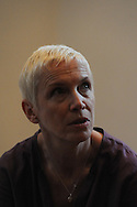 "CAPE TOWN, SOUTH AFRICA - Thursday 2 May 2013, Annie Lennox addresses the Cape Town Press Club. Lennox, OBE, is a British singer-songwriter - she was part of the New Wave, The Tourists and the Eurythmics - political activist and a fighter against HIV Aids through her work in raising money for charities in Africa and has focused on gender based violence in South Africa. One of her hit singles was Walking on Broken Glass. She was appointed Officer of the Order of the British Empire by Queen Elizabeth II in 2011..Lennox, in response to what she calls ""the epidemic of violence"" in South Africa"" against women and girls, has launched a petition imploring the South African media, key government officials and religious leaders to make a commitment of personal and professional responsibility in order to ensure that the issue of gender based violence is never marginalised again..Annie, who is married to a South African medical doctor who focuses on fighting HIV, will ponder the question: ""How can we see the end of gender-based violence?.Photo by Roger Sedres/ Image SA"