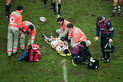 Geoffrey Cros (Union Bordeaux-Begles) and rescue team during the French championship Top 14 Rugby Union match between Stade Francais Paris and Union Bordeaux-Begles on December 30, 2017 at Jean Bouin stadium in Paris, France - Photo Stephane Allaman / ProSportsImages / DPPI