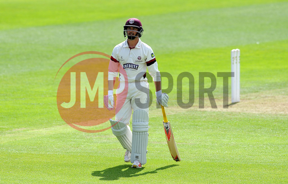 Dejection for Somerset's Alex Barrow Photo mandatory by-line: Harry Trump/JMP - Mobile: 07966 386802 - 09/05/15 - SPORT - CRICKET - Somerset v New Zealand - Day 2- The County Ground, Taunton, England.