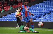 Aaron Bissaka avaiding a challenge during the Final Third Development League match between U21 Crystal Palace and U21 Bristol City at Selhurst Park, London, England on 3 November 2015. Photo by Michael Hulf.