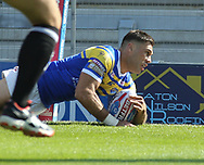Joel Moon of Leeds Rhinos scores the try against Hull Kingston Rovers during the Super 8s the Qualifiers match at Emerald Headingley  Stadium, Leeds<br /> Picture by Stephen Gaunt/Focus Images Ltd +447904 833202<br /> 01/09/2018