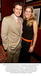 MR & MRS MARK STEWART, he is the son of Jackie Stewart, at a party in London on 13th May 2002.	OZY 48
