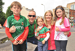 Mayo fans on their way to Croker from Castlebar Callum, Kevin, Fionn, Anne and Grace Filan.<br />Pic Conor McKeown