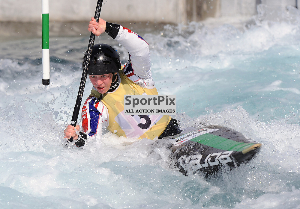 Kimberley Woods, Winner in the P1/C1. In the GB Canoe Slalom 2013 Selection Finals at the Lea Valley White water Centre, Hertfordshire, England. Held on the 28th April 2013..WAYNE NEAL | STOCKPIX.EU