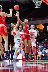 NORMAL, IL - December 04: Arielle Gonzalez-Varner and Katrina Beck look to gain possession of a rebound during a college women's basketball game between the ISU Redbirds  and the Austin Peay Governors on December 04 2018 at Redbird Arena in Normal, IL. (Photo by Alan Look)