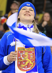 Fans of Finland  at ice-hockey match Finland vs Germany (they played in replika jerseys like they were in year 1932) at Preliminary Round (group C) of IIHF WC 2008 in Halifax, on May 03, 2008 in Metro Center, Halifax, Canada. (Photo by Vid Ponikvar / Sportal Images)Won of Finland 5:1.