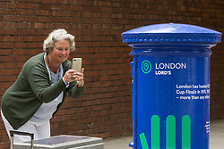 """Claire Harbour snaps one of  Royal Mail's special edition postboxes -<br /> created in collaboration with the International Cricket Council – outside Lord's<br /> Cricket Ground in London. To mark the launch of the ICC Cricket World Cup<br /> this week, the Company has decorated postboxes across the UK in each host<br /> city for the tournament, in honour of the quintessentially British game. The<br /> postboxes are located in London, Manchester, Nottingham, Chester-Le-<br /> Street, Cardiff, Bristol, Southampton, Birmingham, Taunton and Leeds, and<br /> will be transformed for the duration of the tournament."""". Lords Cricket Ground, London, May 28 2019."""
