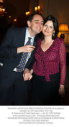 EDWARD LUCAS and MISS CHRISTINA ODONE at a party in London on 5th April 2004.PTC 102
