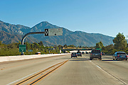 State Route 210 (SR 210) highway, Foothill Freeway, Tree Lined Overpass, San Bernadino, CA