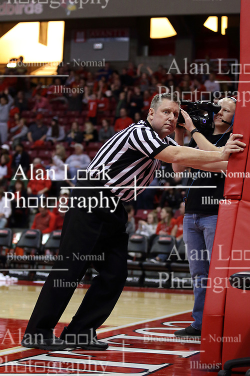27 January 2018:  Ray Natili stretches during a break in the game during a College mens basketball game between the Valparaiso Crusaders and Illinois State Redbirds in Redbird Arena, Normal IL