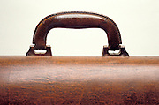 leather handle of wooden brief case