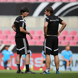 "08.06.2015, RheinEnergie Stadion, Koeln, GER, Nationalmannschaft, Training, im Bild National-, Bundestrainer Joachim ""Jogi"" Loew im Gespraech mit Co-Trainer Thomas Schneider // during a trainingssession of the german national team at the RheinEnergie Stadion in Koeln, Germany on 2015/06/08. EXPA Pictures © 2015, PhotoCredit: EXPA/ Eibner-Pressefoto/ Schüler<br /> <br /> *****ATTENTION - OUT of GER*****"