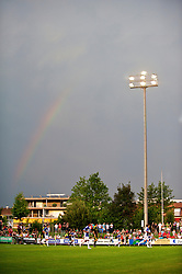 ZUG, SWITZERLAND - Wednesday, July 21, 2010: A rainbow breaks out as Liverpool take on Grasshopper Club Zurich during the Reds' first preseason match of the 2010/2011 season at the Herti Stadium. (Pic by David Rawcliffe/Propaganda)