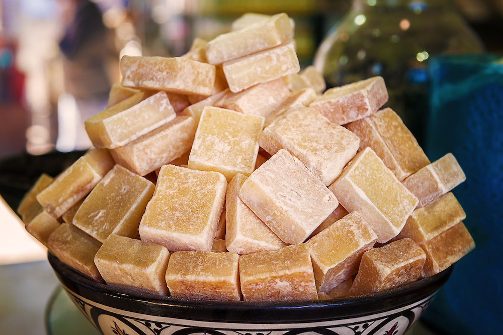 Natural musk block in a bowl in the medina of Marrakech, Morocco.