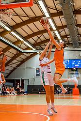 21-11-2018 NED: Netherlands - Bulgaria, Amsterdam<br /> Qualify FIBA Women's EuroBasket 2019 at Sporthallen Zuid Amsterdam / Group Phase Group F, Final Score 89-68 / Janis Ndiba Boonstra #0 of Netherlands, Tanya Broring #7 of Netherlands, Gabriela Kostava #22 of Bulgaria