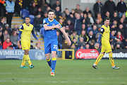 AFC Wimbledon defender Sean Kelly (22) celebrating scoring 2-1 during the EFL Sky Bet League 1 match between AFC Wimbledon and Oxford United at the Cherry Red Records Stadium, Kingston, England on 14 January 2017. Photo by Matthew Redman.