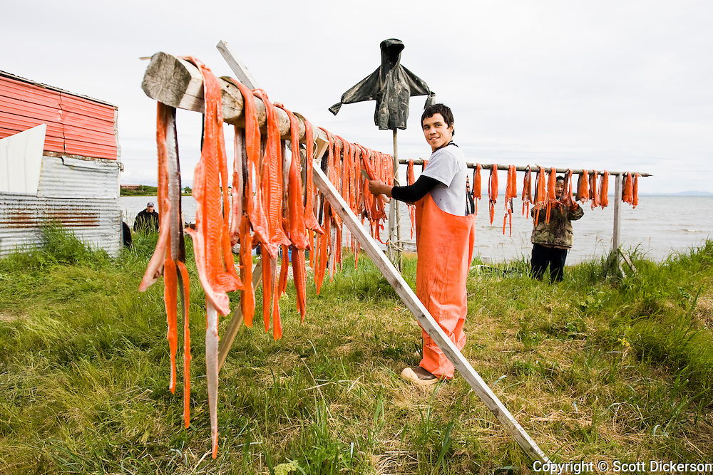Gordon Hester works on stripping sockeye salmon for smoking, Iliamna, Alaska.
