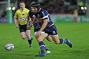 Agen hooker Clement Marttinez (2) runs for the loose ball during the European Rugby Challenge Cup match between Gloucester Rugby and SU Agen at the Kingsholm Stadium, Gloucester, United Kingdom on 19 October 2017. Photo by Gary Learmonth.